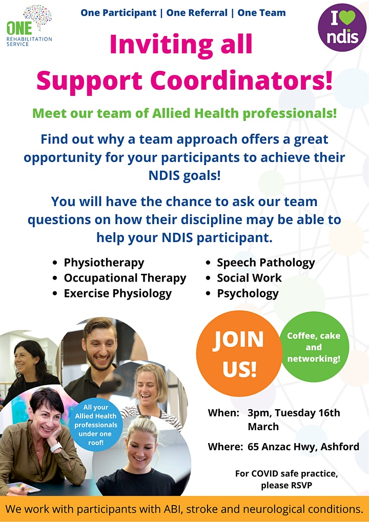 Support Coordinators - One Rehabilitation Service Event image