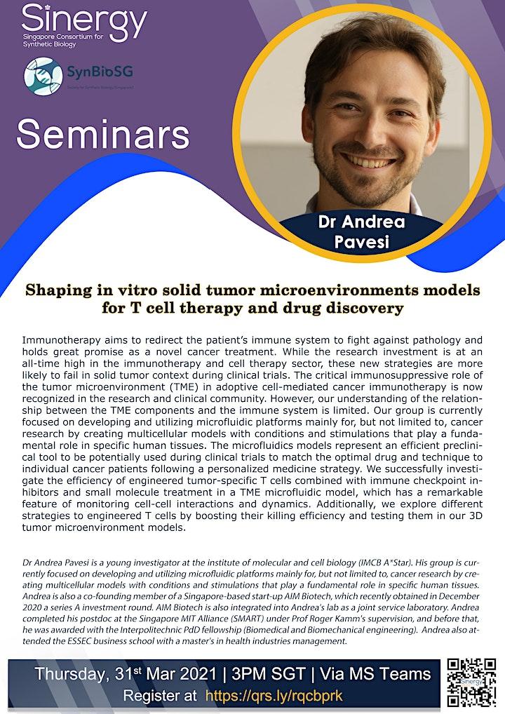 SINERGY Seminar Series – Dr Andrea Pavesi image