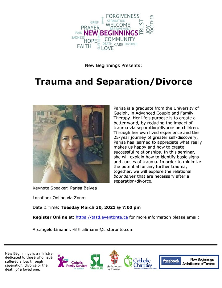 New Beginnings Online Seminar: Trauma and Separation/Divorce image