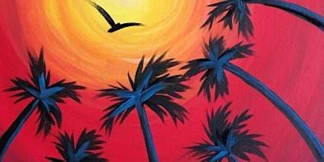 """Paint and Sip Online Art Class """"Six Palms"""" tickets"""
