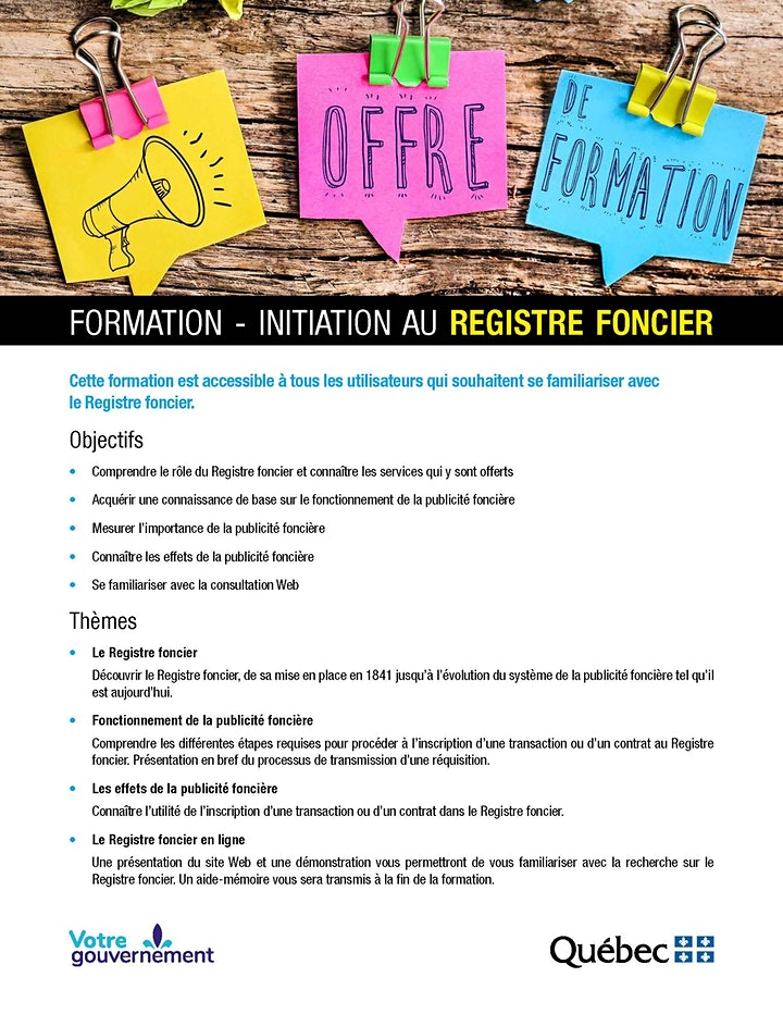 Image de Formation - Initiation au Registre foncier