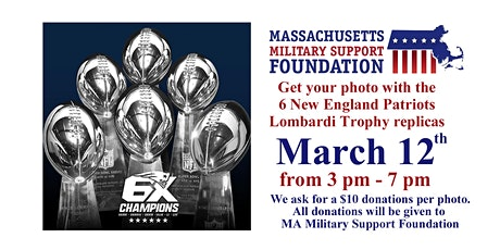 Photos with 6 New England Patriots Lombardi Trophy Replicas tickets