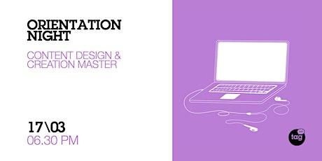 Orientation Night | Content Design & Creation Master biglietti