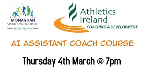 Athletics Ireland Assistant Coach Workshop - Thursday 4th March 7pm tickets