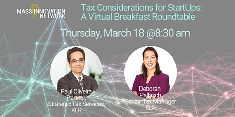 Tax Considerations for StartUps: A Virtual Breakfast Roundtable tickets