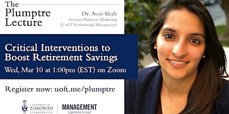 Plumptre Lecture - Professor Avni Shah billets