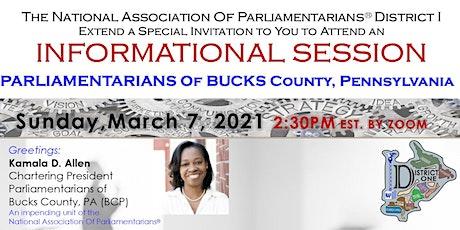 Parliamentarians Of Bucks County Pennsylvania Informational Meeting tickets