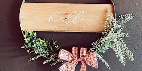 Wine Barrel Hoop Wreaths with Wood Plank tickets