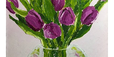 """""""Purple Tulips"""" canvas painting at Boston's Restaurant (Waldorf, MD) tickets"""