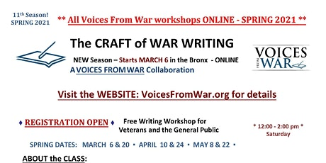The CRAFT of WAR WRITING - Writing Workshop for Veterans & the General Pub. tickets
