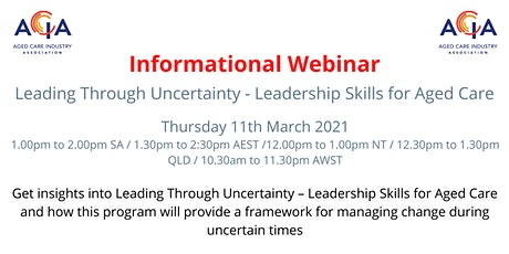 Leading  Through Uncertainty - Leadership Skills for Aged Care tickets