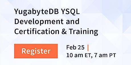 "Free Course ""YugabyteDB YSQL Development"" + Free Certification tickets"
