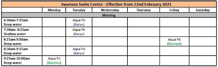 Swansea Swim Centre- AQUA FITNESS Bookings image