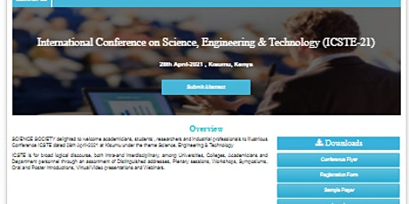 International Conference on Science, Engineering & Technology (ICSTE-21) tickets