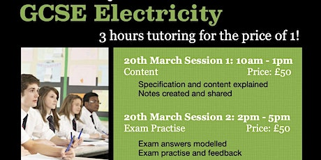 GCSE Electricity 3hr Online Tutoring Session - Exam Qs tickets