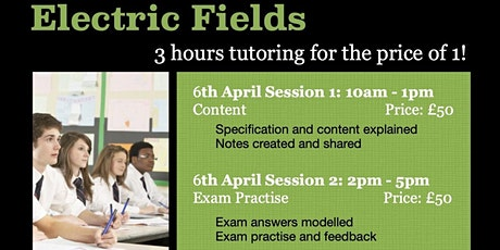A Level Electric fields 3hrs Online Group Tuition - Exam Practise tickets