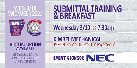 WIC Week 2021  : :  SUBMITTAL TRAINING & BREAKFAST  : :  March 10th tickets