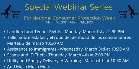 Consumer Protection Week Webinars - March 1st to 5th, 2021 tickets