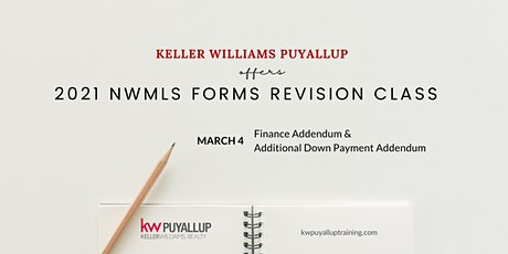 2021 NWMLS Forms Revision Finance Addendum & Additional Down Payment tickets