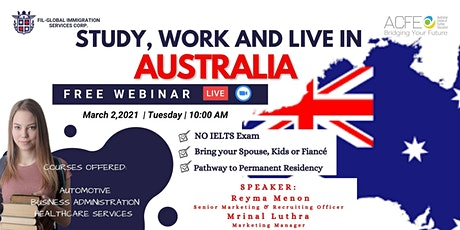 FREE WEBINAR:STUDY, WORK AND LIVE IN AUSTRALIA tickets