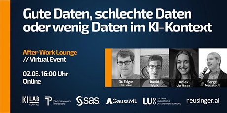 KI-Lab After-Work Lounge 4 // Gute Daten, schlechte Daten ... im KI-Kontext Tickets