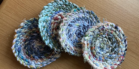 Make a Coaster from Fabric Scrap Twine tickets