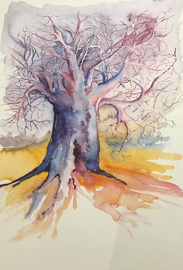 The Friday Gallery Watercolour painting live online class: Baobab Tree image