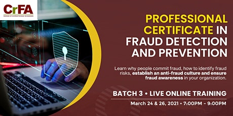 Professional Certificate in Fraud Detection and Prevention - Batch 3 tickets