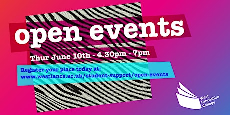 West Lancashire College Virtual Open Event -  Thursday 10th June 2021 tickets