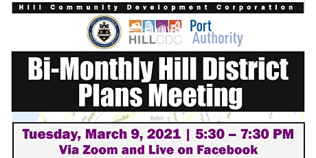 March 2021 Bi-Monthly Hill District Plans Meeting tickets