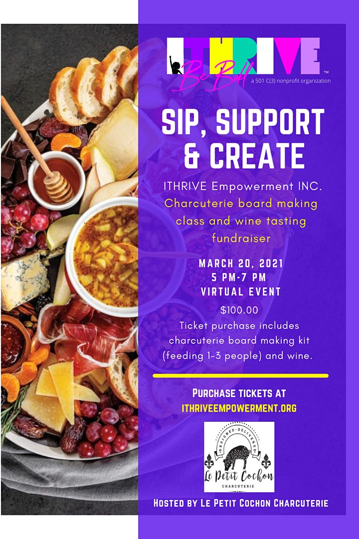 Sip, Support & Create!  Charcuterie Board Making Class and Wine Tasting image