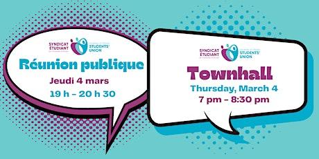 Réunion publique // Townhall tickets