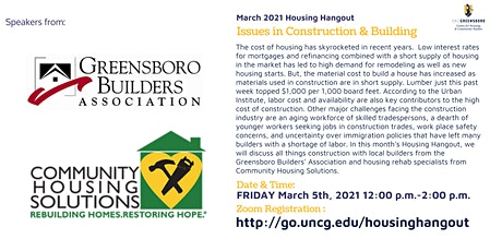 March Housing Hangout  - Issues in Construction & Building tickets