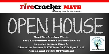 Firecracker Math Virtual Open House  In-Person and Live-Online Summer Camps tickets