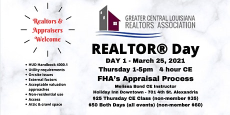2021 Realtor Day  March 25th 1-4pm CE Class Only tickets