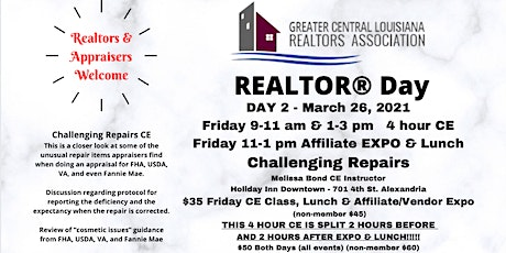 2021 Realtor Day  March 26th - CE Class /Lunch/Affiliate Vendor Expo tickets