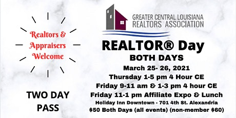 2021 Realtor Day - March 25-26th - Class/Friday Lunch/Affiliate Vendor Expo tickets
