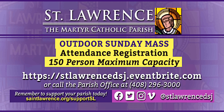 SATURDAY, February 27, 2021 @ 4:00  PM Vigil Mass Registration tickets