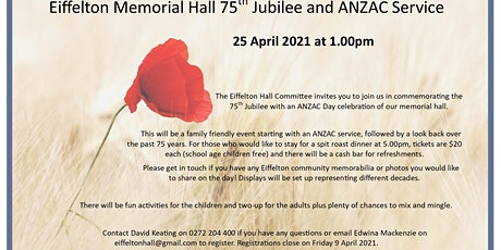 Eiffelton Memorial Hall 75th Jubilee and ANZAC Service tickets
