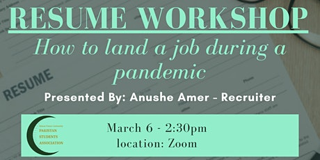 Resume Workshop: How to Land a Job During a Pandemic tickets