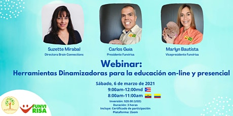 Webinar: Herramientas Dinamizadoras para la educación on-line y presencial boletos