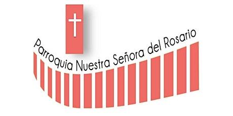 Rosario y Misa Domingo, 19 horas entradas