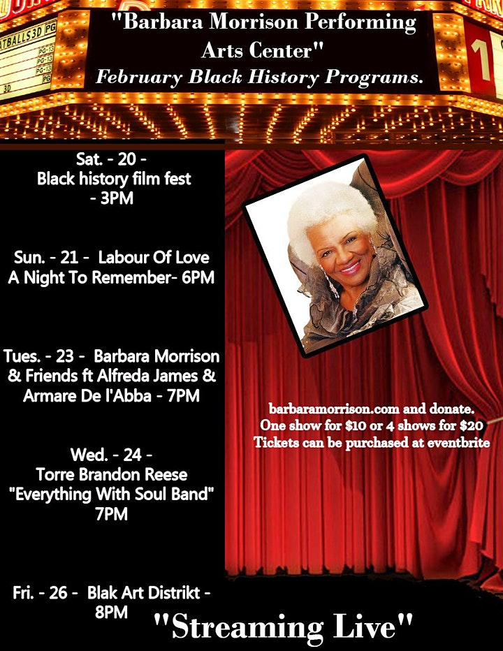 Black History Month Live From Barbara Morrison Performing Arts Center image