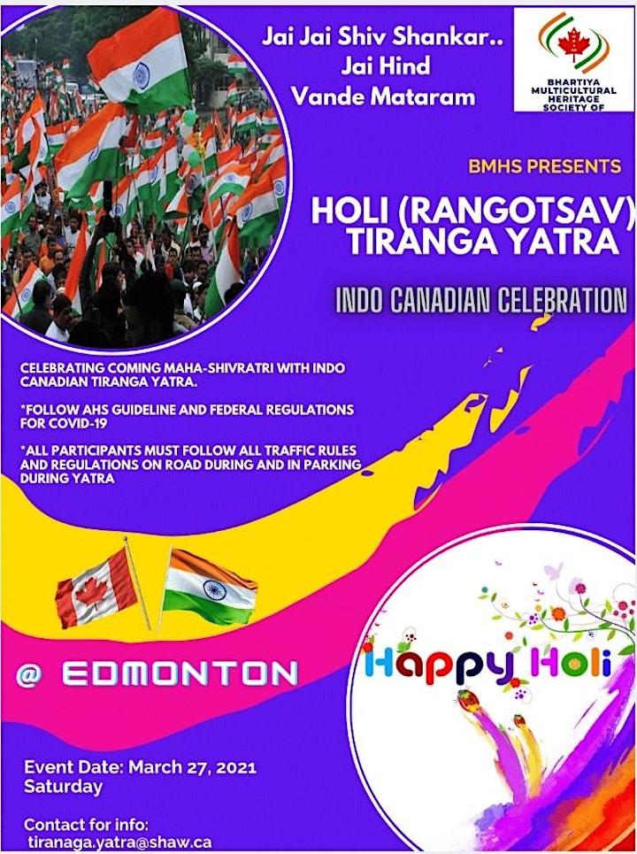 SHIVRATRI n RANGOTSAV Celebration with Indo Canadian Peace Tiranga Yatra image