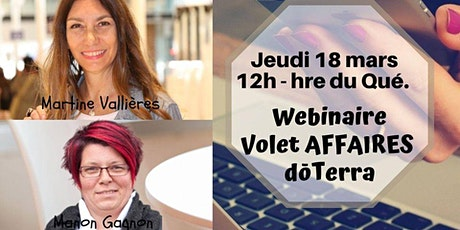 Opportunité d'affaires doTERRA Équipe Martine Vallières et Manon Gagnon billets