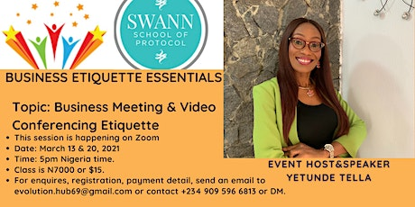 Business Meeting and Video Conferencing Etiquette Tips tickets