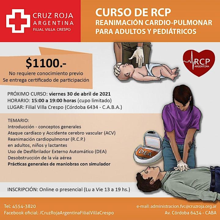 Imagen de Curso de RCP en Cruz Roja (viernes 30-04-21)  - Duración 4 hs.