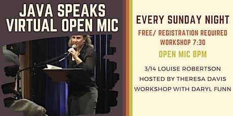 Java Speaks Virtual Open Mic featuring Louise Robertson tickets