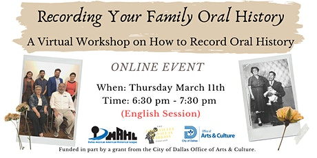 Recording Your Family Oral History Workshop (English Session) tickets