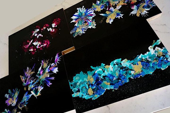 6 SPOTS LEFT - Funky florals - Alcohol Ink workshop (on black boards) image